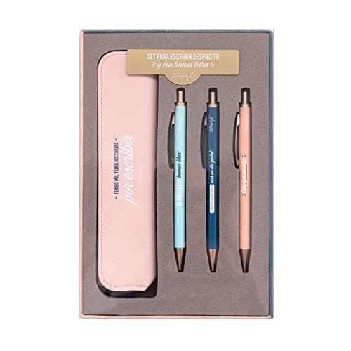 41UAoL Haz clic aquí para comprobar si este producto es compatible con tu modelo Set de escritura que incluye estuche y tres bolis con tinta negra, azul y roja Peso: 233gr
