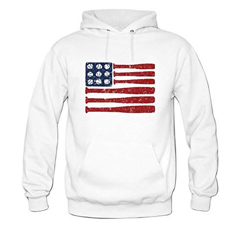 Baseball American Flag - Baseball Bats & Ball Red White & Blue Mens hoody Sweatshirt L White