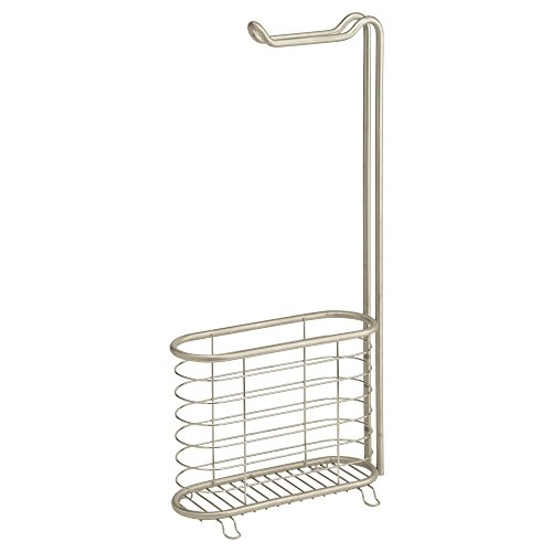 InterDesign Forma Free Standing Toilet Paper Holder and Newspaper and Magazine Rack for Bathroom - Satin ()