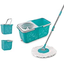 Topmop 2 Compartment Easy Wring Spin Mop and Bucket System ,More Solid ! More Convenient !