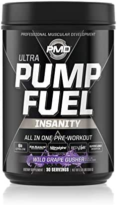 PMD Sports Ultra Pump Fuel Insanity - Pre Workout Drink for Energy, Strength, Endurance, Muscle Pumps and Recovery - Complex Carbohydrates and Amino Energy - Wild Grape Gusher - 30 Servings