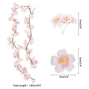 CEWOR 4pcs Artificial Cherry Blossom Flower Vines Hanging Silk Flowers Garland for Wedding Party Home Decor (Pink, Pack of 4) 2