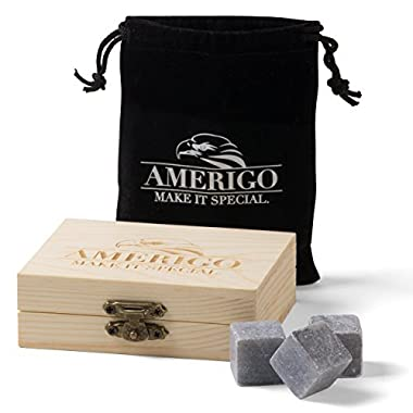 Premium Whiskey Stones by Amerigo - Water Down Your Whiskey? Never Again ! Set of 9 Chilling Whiskey Rocks - Packaged in an Exclusive Wooden Gift Set - Ice Cubes - Sipping Stones - Free Velvet Pouch