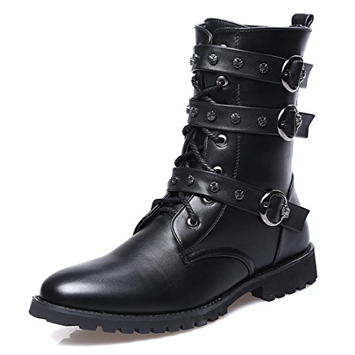 Santimon Men's Boots Retro Studded Rivet Buckle Zipper Western Motorcycle Combat Boot Heavy Metal Punk Rock Black