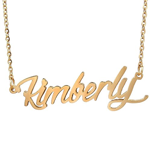 HUAN XUN Gold Color Plated Best Friend Name Necklace, Kimberly ()