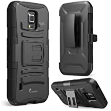 Galaxy S5 Active Case, i-Blason Prime Series Dual Layer Holster Case with Kickstand and Locking Belt Swivel Clip for Samsung Galaxy S5 Active [Will Not Fit the Regular Galaxy S5 i9600] (Black)