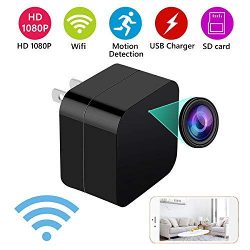 2 in 1 Mini Hidden Spy Camera and USB Charger – Wireless Hidden Camera USB Security Camera Supports 128 GB SD Memory Card 1080 P HD Resolution by MEYUEWAL