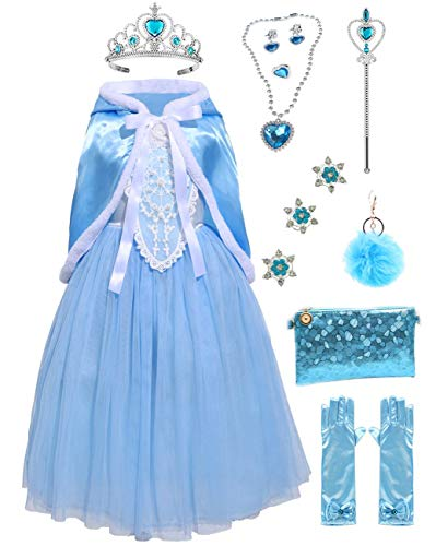 Girls Cinderella Princess Costume Dress Halloween Party Fancy Cosplay with Accessories (4-5, Blue)
