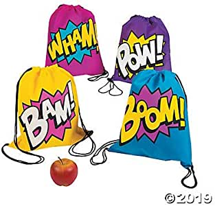 Superhero Girl Drawstring Backpacks Bags - 12 Bags