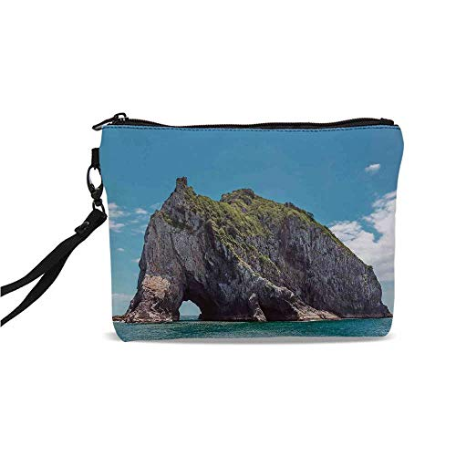 Seaside Decor Simple Cosmetic Bag,Famous Elephant Shape Rock with the Grand Hole in Bay of Islands Nz Cavern Peace Photo for Women,9