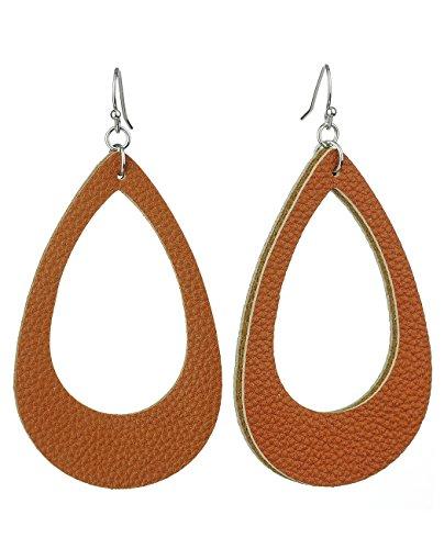 Womens Smooth Faux Leather Hollow Teardrop Dangle Pierced Earrings