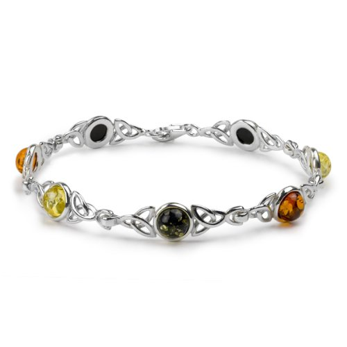 Sterling Silver Multicolor Amber Celtic Knot Bracelet Length 7 ()