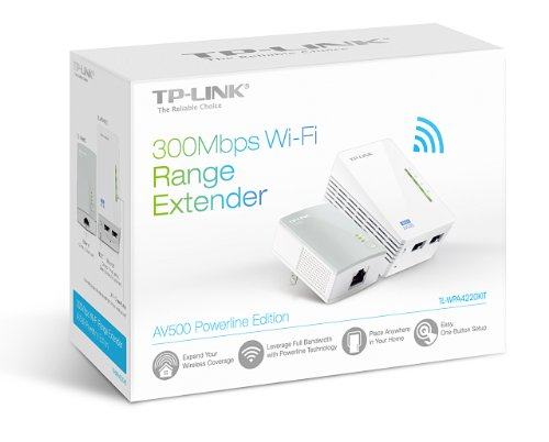 TP-LINK TL-WPA4220KIT ADVANCED 300Mbps Universal Wi-Fi Range Extender, Repeater, AV500 Powerline Edition, Wi-Fi Clone Button, 2 LAN Ports