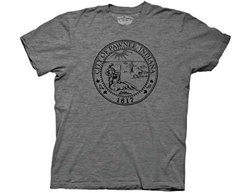 Ripple Junction Parks & Recreation Adult Unisex Pawnee Seal Light Weight Crew T-Shirt 2XL Heather Graphite