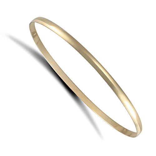 Jewelco Londres dames 9K solide or jaune bracelet d-forme 3mm bangle
