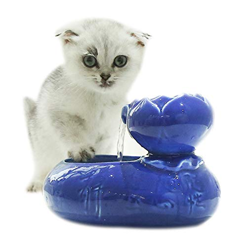 Xch Cat Water Fountain,Super Mute Ceramics Pet Water Dispenser for Cat and Small Dogs,Blue