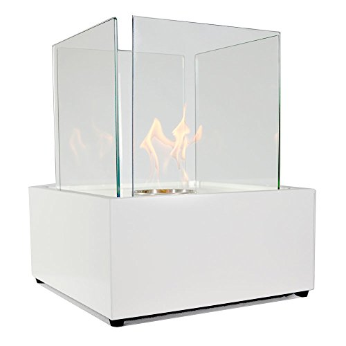Sunnydaze White Large Cubic Ventless Tabletop Bio Ethanol Fireplace (Tabletop Fire Glass compare prices)