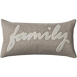 Rizzy Home PILT09960NTIV1121 One of A Kind Family Word Pillow Decorative Pillow,Natural