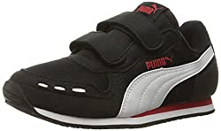 Puma Cabana Racer Mesh V Kids Sneaker (Toddlerlittle Kidbig Kid), Black White, 1.5 M Us Little Kid