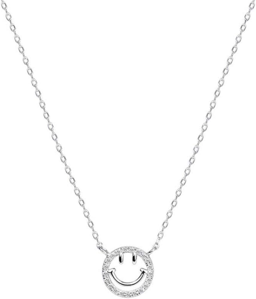 XiangRuima Collar s925 Plata esterlina Diamante Sonrisa joyería Regalo Mujer, Longitud 40cm