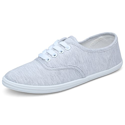 CIOR Women Lace up Canvas Shoes Casual Round Tote Classic Sneakers Original Lightweight Soft F.grey