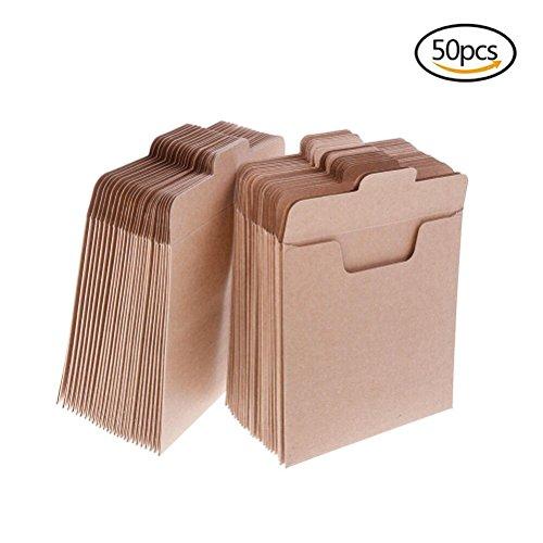 Eshylala 50 Packs CD Sleeves Kraft Paper DVD Envelopes, CD Paper Cardboard, Kraft Paper Sleeves, CD Paper Storage Holder Covers CD Packaging Bags Box Media Cases - 5'' x 5''(12.8 x 12.8 cm)
