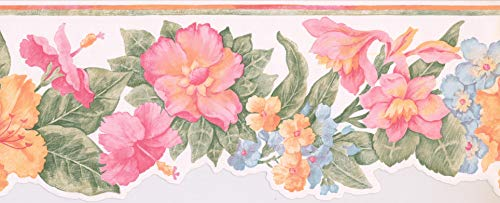 Wallpaper Border Flowers Leaves Pink Green Blue Yellow Orange Red Modern 15' x 8