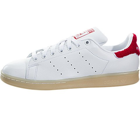 adidas Originals Women's Shoes | Stan Smith Fashion Sneakers, White/White/Collegiate Red, (6.5 M US)