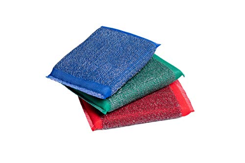 Blue & Green Iron Scouring Pads - Incredibly Tough, Heavy Duty & Long-Lasting Scrubbing Sponges. for Pots, BBQ Grills, Microwaves & Stovetops (3)
