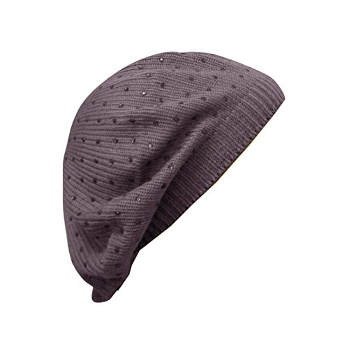 Lavender Ladies Beret Hat with Small Studs Stylish Berets for Women
