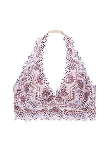 Victoria's Secret Pink Lace Bralette Lightly Lined Halter Geo Latte/Multi S