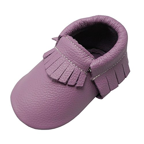 YIHAKIDS Baby Tassel Shoes Soft Leather Sole Infant Toddler Moccasins First Walkers Shoes Multi-colors (US 5M (4.9in/6-12Mo.), Light Purple)