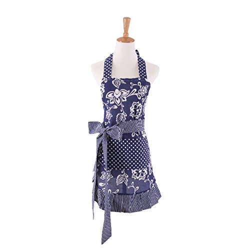 Surblue Cotton Women Vintage Frill Apron with Extra Long Ties, Flower Pattern Apron with Big Pockets, Great for Kitchen Cooking, Baking crafting and Gardening