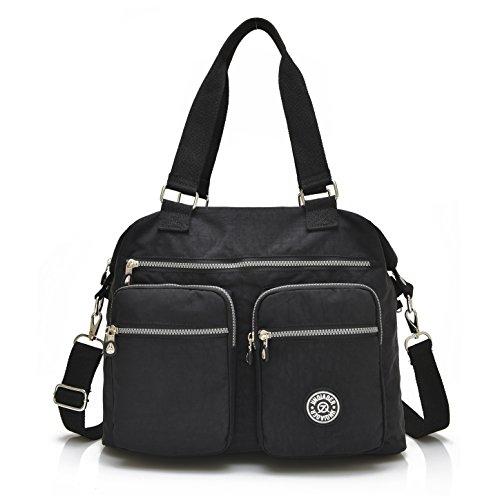 Nylon Crossbody Tote Handbags for Women Leisure Lightweight Messenger Bag Shoulder Bag with Lots of Pockets (Tote Black Fabric Handbags)