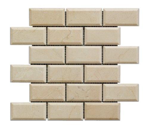Crema Marfil Marble 2 X 4 Brick Mosaic Tile, Polished & Beveled - Box of 5 sq. ft. - Crema Marfil Stone