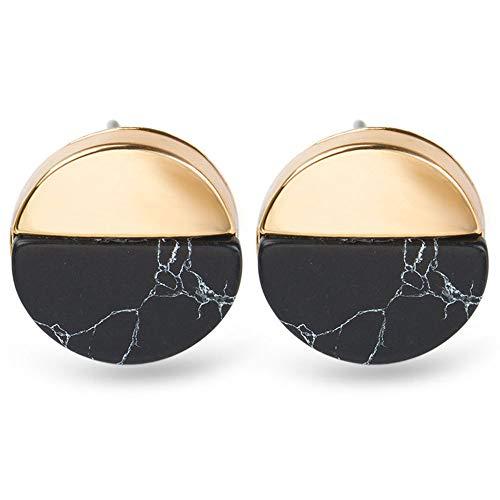 Dwcly Women Retro Circular Triangular Square Stud Earring Half Marble Stone Simple Geometric Earrings Jewelry Gift (Circle Black)