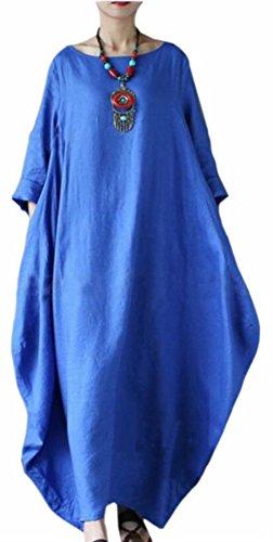 Suelto La S De n 3 Cuello Mujeres Redondo De Azul 4 De lido Largo Vestido Irregulares Oscilaci Manga Jaycargogo Las UwWqvaCwS