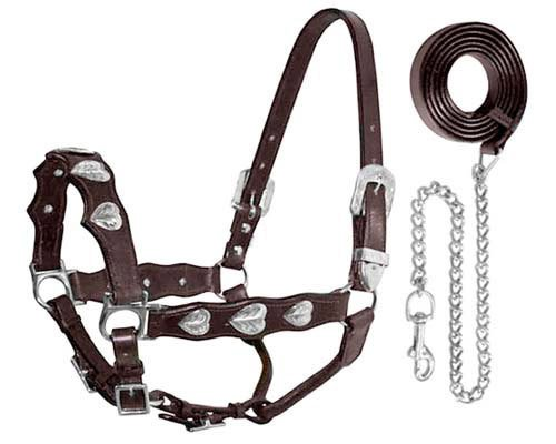 Tahoe Tack Silverado Silver Heart Show Horse Halter with Lead (Black, Full) ()