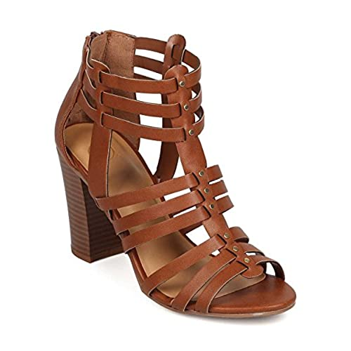 dc95ba1224d lovely Delicious EH94 Women Leatherette Peep Toe Caged Gladiator Single  Sole Chunky Heel Sandal - Tan