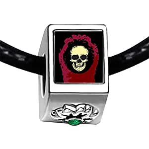 Chicforest Silver Plated Halloween skeleton head Photo Emerald Green Crystal May Birthstone Flower Charm Beads Fits Pandora Bracelet