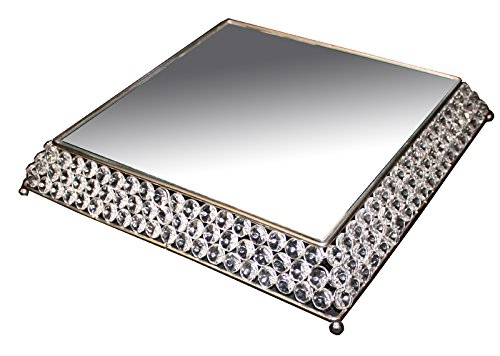 Essential Décor Entrada Collection Cake Stand, with Clear Crystal, 13.5 by 13.5 by 2-Inch, Silver