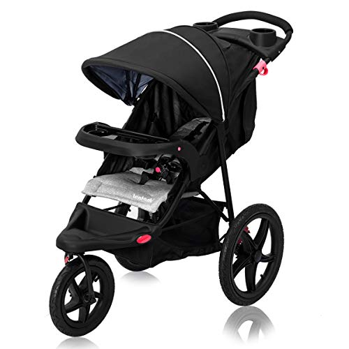 Cchainway Baby Jogger Stroller – Foldable Lightweight Stroller with Jogger Travel System, w/Parental Cup Phone Holder, Extended Canopy, Free Tractive Webbing, Large Storage Basket, Cup Holder (Black)