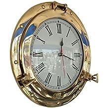 "Hampton Nautical Brass Deluxe Class Porthole Clock, 15"""