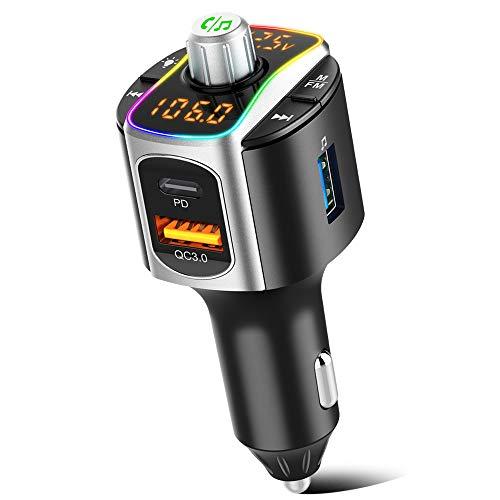 🥇 SONRU Transmisor FM Bluetooth 5.0 Coche Mechero