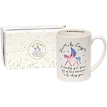 """C.R. Gibson 16 oz Porcelain Coffee Mug, Gift Boxed, Dishwasher & Microwave Safe, Measures 5"""" W x 4.63"""" - #Unicorns Are Real"""