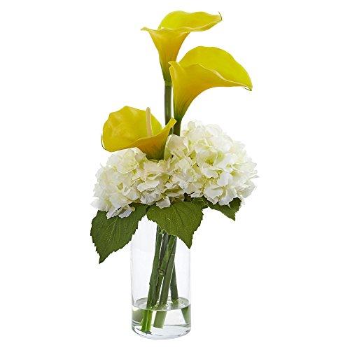 - Nearly Natural 1607-YC Calla Lily and Hydrangea Artificial Arrangement Silk, Yellow/Cream