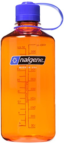 Nalgene Tritan 32-Ounce Narrow Mouth BPA-Free Water Bottle, Orange w/Blue Cap