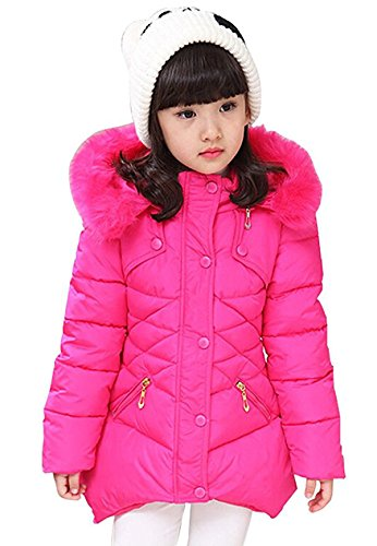DNggAND Child Kids Girls Winter Warm Jackets Snowsuit Hooded Windbreaker Outwear Soft Fur Hoodies 3-12 Years Old (Rose, 9-10T/(Fit Height:54