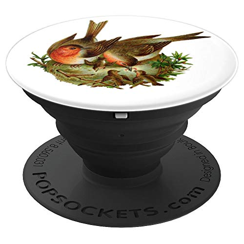 Vintage Robin Redbreast Birds in Nest  PopSockets Grip and Stand for Phones and Tablets