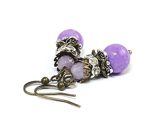 Purple Jade Drop - Purple Jade Jewelry Gemstone Earrings Dangle Earrings Gifts Ideas for Mom